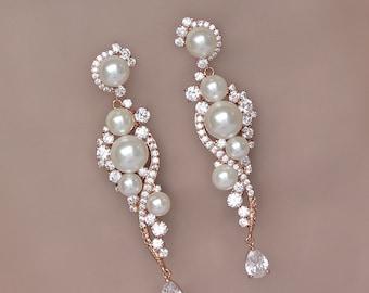 Pearl Bridal Earrings, Rose Gold Earrings, Chandelier Wedding Earrings, TILLY RG