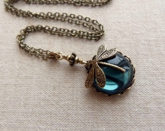 Ink Moon . Dragonfly necklace, short brass chain,victorian dragonfly inkblue glass cabochon chain summer dark blue montana saphhire boho