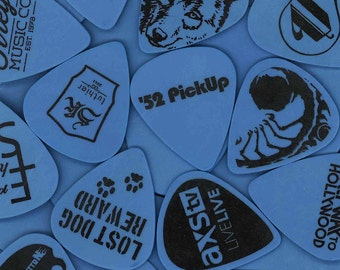 Custom Guitar Picks on Blue Delrin with Black Print - Made with your Image