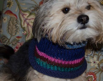 "Knit Dog Scarf/Cowl   Small -  12 Inch Circumference with Stretch. 11"" long  Fits  up to 20"" Neck OOAK Dog Accesories"