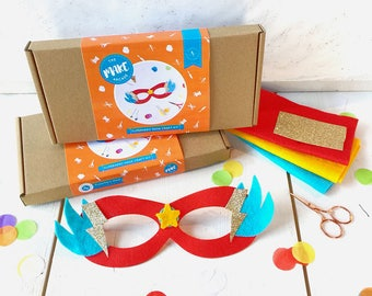 Superhero mask making kit, make a superhero, party favours, gifts for children, superhero, superhero costume, craft kits, diy craft