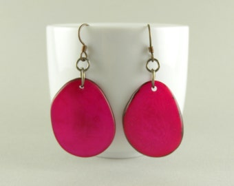 Fuchsia Pink Tagua Nut Eco Friendly Earrings with Free USA Shipping