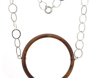 Karma Circle Brown Agate Semi Precious Gemstone Necklace