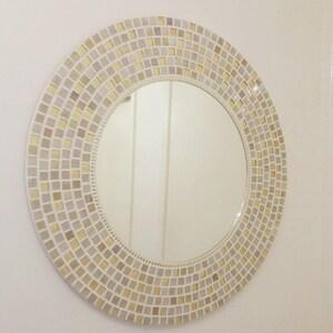 Mosaic Mirror In Gold U0026 Cream 60cm Large Round Wall Mirror, Bathroom Mirror,  Gold