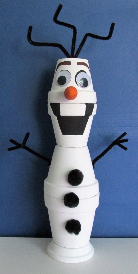 Hand Painted Clay Pot Olaf Shelf Sitter