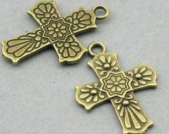 8 Cross Charms, Cross pendant beads, Antique Bronze 21X28mm CM0408B