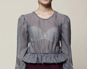 Womens blouse, Peplum blouse, Long sleeve shirt , Peplum top, Winter top, Sheer blouse, Women shirt, Elegant top, Crop top, Plaid top