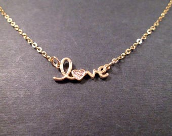 LOVE Word Necklace, Cubic Zirconia Pendant Necklace, Gold Chain Necklace, FREE Shipping U.S.