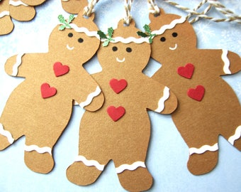 6 Handmade Gingerbread Men Christmas Gift Tags cute gingerbread man tags toppers cards Crafts bunting christmas decor