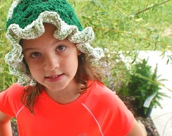 Crochet Summer Hat,  Women's Green Cotton Cloche Hat, Spring Hat, Head covering, Sun Hat, Gardening Hat, Beach hat