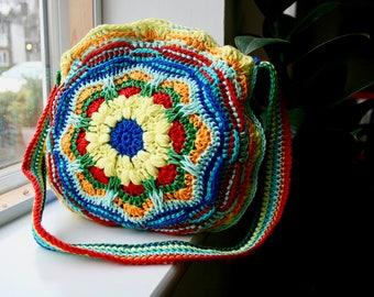 Crochet pattern, Bohemian Mandala purse, crochet color bag pattern, granny crochet bag pattern 273 Instant Download