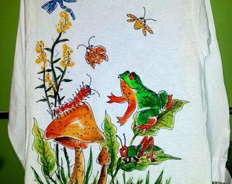 Frog Mushroom Wildflowers Critters Hand painted T-Shirt or Sweatshirt