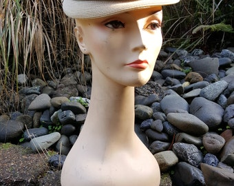 40's Straw Tricolor Tiered Pillbox Hat