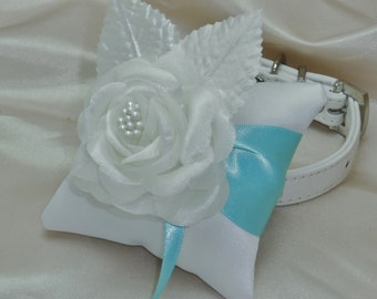 Dog Ring Bearer Pillow Rhinestone Collar in Aqua Blue and White