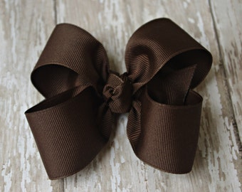 "Chocolate Brown Large Hair Bow 4"" Alligator Clip Girls Hairbow Brown Large Girls Bow Brown Large Hairbow"