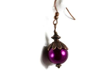 Purple Pearl And Copper Petal Earrings