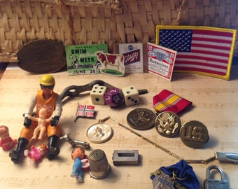 Junk Drawer Lot..Curio 151..Vintage Lot..Collectible Lot..American Flag Patch..Military..Medals..Dice..Pins..USA