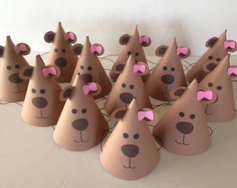 GIRL TEDDY BEAR Birthday Party Hats (Set of 6) -- Almost as cute and cuddly as the real thing!