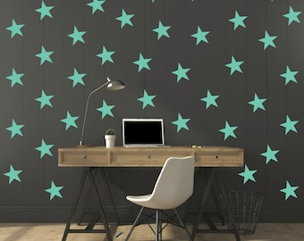 FREE SHIPPING Wall Decal Turquoise Stars. 77 Stars. Nursery Wall Decal. Wall Art. Vinyl Wall Decal.