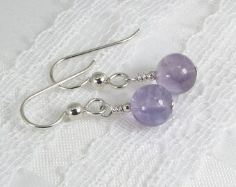 Bold Lavender Amethyst and Sterling Silver Earrings