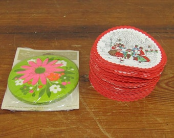 3 dozen vintage Christmas paper glass coasters plus bonus package