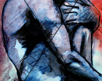"naked man painting drawing ""at the heart of a birth"""