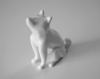 Shiba Inu Dog Porcelain Ring Holder Figurine