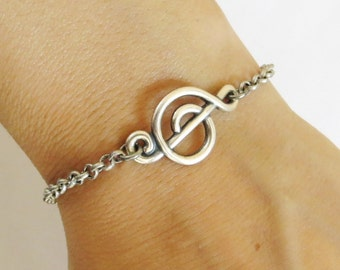 Steampunk Music Note Bracelet Sterling Silver Ox Finish Music Note