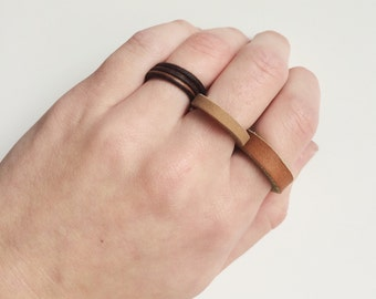 No metal leather ring, brown or tan men's leather ring, metal free, without metal, nonmetal non-metal, electrician, simple modern minimalist