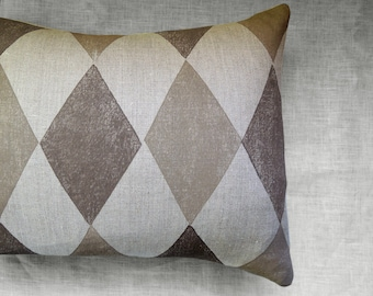 Two toned chocolate or taupe Harlequin natural undyed gray brown or antique white linen hand block printed geometric decorative pillow case