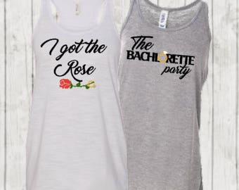 The Bachelorette themed bridal party shirts ~ I got the Rose ~ The Bachelorette Party