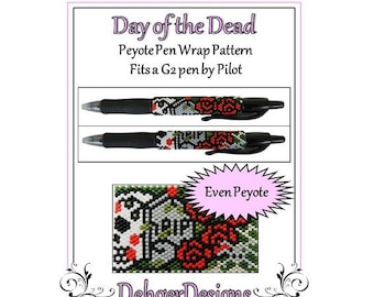 Peyote Beading Pattern (Pen Wrap/Cover)-Day of the Dead