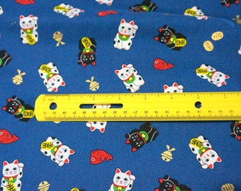 Lucky cat Manekineko Print Light weight  Half meter 50 cm by 106 cm or 19.6 by 42 inches nc16