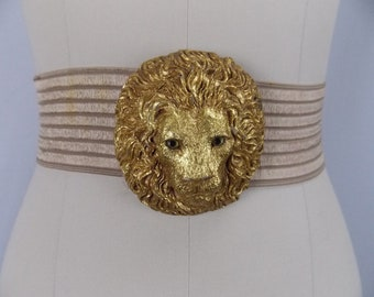 Stretch Belt with Gold Lion's Head Charmant Beverly Hills