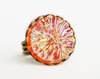 Iridescent Orange Cocktail Ring Vintage Glass Tangerine Crystal Ring Iridescent Statement Jewelry