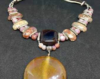 Picasso jasper necklace Agate pendant Big agate pendant Long japer agate necklace Chunky necklace Boho Chic agate jewelry Colorful necklace