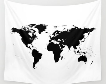 World Map Wall Tapestry, Map Large Size Wall Art, Modern Decor, Outdoor, Garden, Beach Hut Decor, Black White Tapestry, Office Decor, Dorm