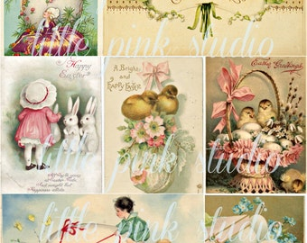Vintage Easter Greetings,  Printable Collage Sheet (digital download, printable)