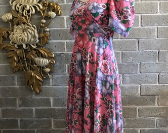 1970s dress maxi dress vintage dress puff sleeves dress pink dress empire waist dress size medium floral dress puff shoulders