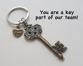 Employee Appreciation Gift Keychain, Bronze Key Charm Keychain, Employee Gift, Coworker Gift, Work Team Gift, Thank you Gift, Teacher Gift