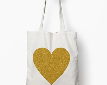 Gold glitter heart tote bag, bridal shower gift, wedding tote bag