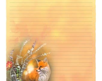 "Digital Stationery Design by Leanne Peters - ""Fox Fall Magic"" - Fall Art - Fox Art - Fantasy Art - Lined Stationery Art"