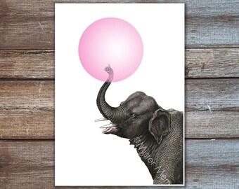Elefanten Poster Elefant Kunst Kaugummi Poster geekery
