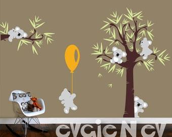 Koala Bear Wall Decals with Baby Koala - Wall Decals Australia for kids, Tree and Five Little Koala Bears with Balloon -  PLTBRS030