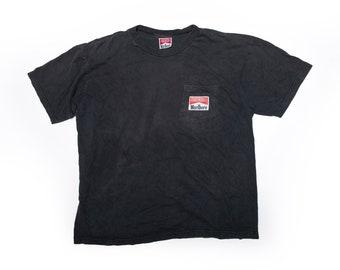 Marlboro Pocket T-Shirt. Faded Black. w/ Lrg Back Print - Size Medium
