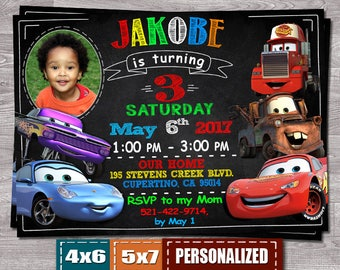 Disney Cars Invitation, Cars Invitation, Cars Invite, Disney Cars Birthday Party, Cars Birthday Invitation, Pixar Racing Lightening McQueen