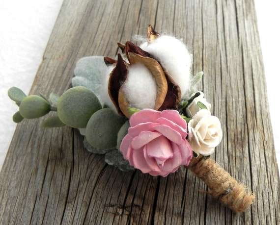 Rustic Cotton Boll Boutonniere, Cotton Boll Buttonhole, Country Wedding Boutonniere,  Rustic Wedding Bout, Groom Groomsmen Boutonniere