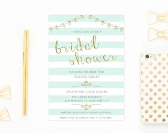 Mint Green Bridal Shower Invitation, Glitter Bridal Shower Invitation, String Light Invitation, Bridal Shower Invitation, Gold Bridal Shower