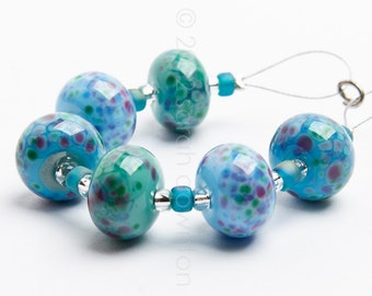 Monet Blues Mix - Handmade Lampwork Glass Beads by Sarah Downton