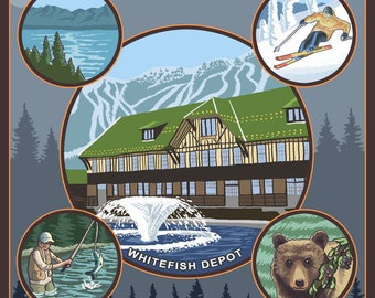 Whitefish, Montana - Lantern Press Artwork (Art Print - Multiple Sizes Available)